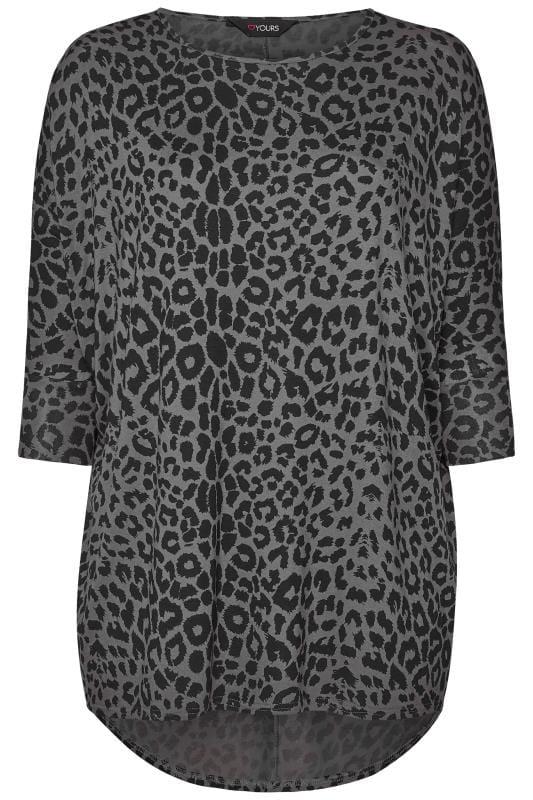 Grey Leopard Print Extreme Dipped Hem Top