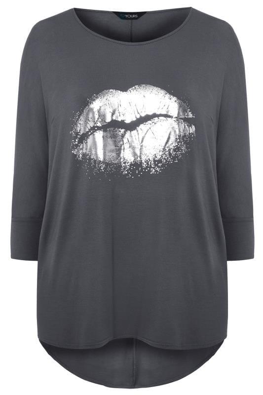 Slate Grey Foil Lips Print Extreme Dipped Hem Top