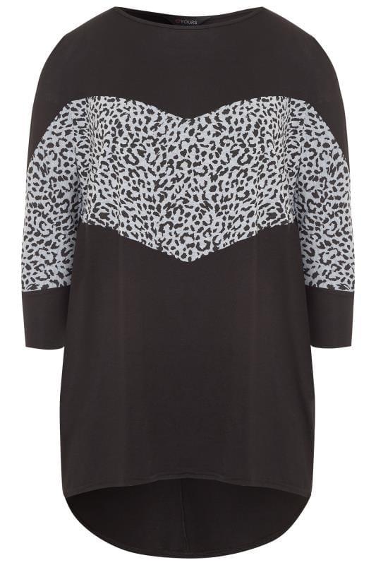 Black & Grey Leopard Colour Block Extreme Dipped Hem Top