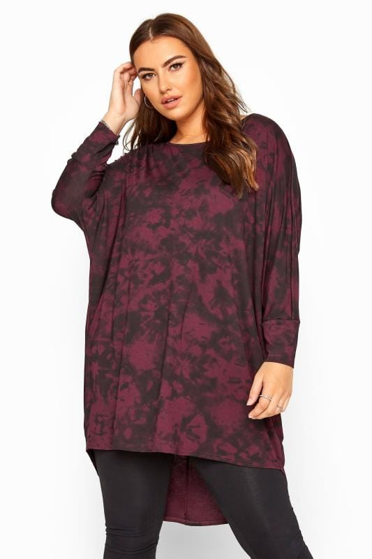 Beauty Berry Red Tie Dye Extreme Dipped Hem Top