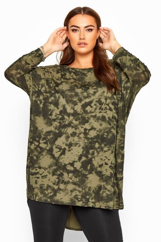 Plus Size Beauty Khaki Tie Dye Extreme Dipped Hem Top