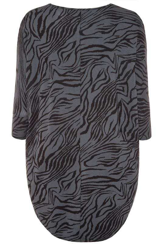 Grey Zebra Print Extreme Dipped Hem Top
