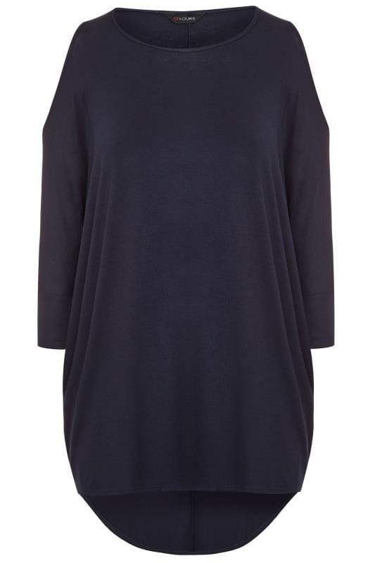 Plus Size Dipped Hem Tops Navy Extreme Dipped Hem Cold Shoulder Top
