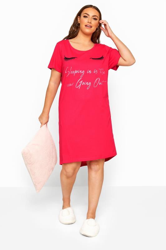 Plus Size  Pink Eyelash Glitter Slogan Nightdress