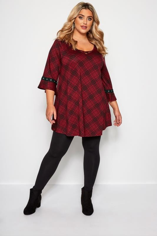 Burgundy Red Check Eyelet Longline Top