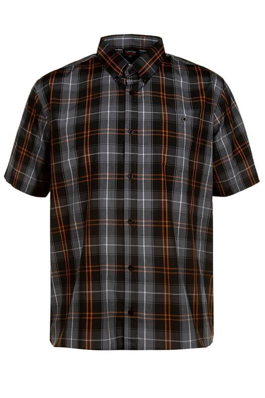 Plus Size Casual Shirts ESPIONAGE Black Check Shirt