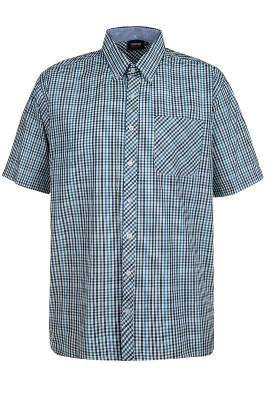 Plus Size Casual Shirts ESPIONAGE Blue Check Shirt