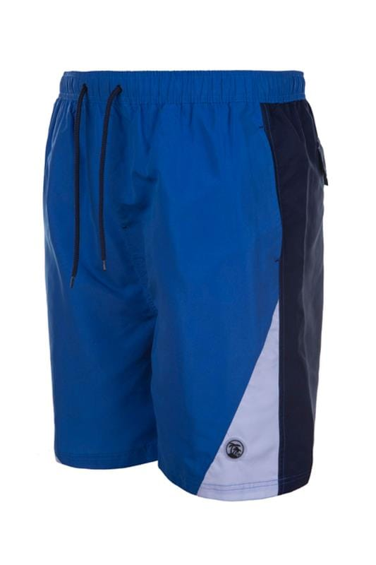 Plus Size Swim Shorts ESPIONAGE Blue Colour Block Swim Shorts