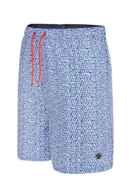 Plus Size Swim Shorts ESPIONAGE Blue Geometric Swim Shorts