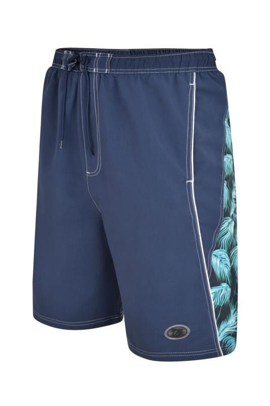 Plus Size Swim Shorts ESPIONAGE Blue Leaf Swim Shorts