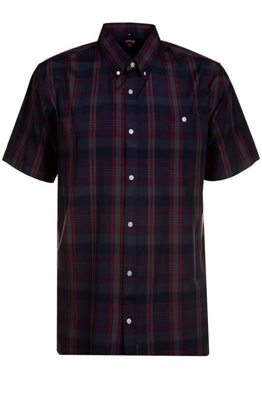 Plus Size Casual Shirts ESPIONAGE Navy Check Shirt