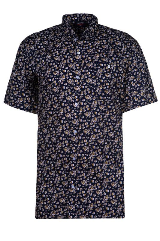 Plus Size Casual Shirts ESPIONAGE Navy Floral Print Shirt