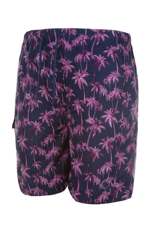 Plus Size Swim Shorts ESPIONAGE Navy Tropical Swim Shorts