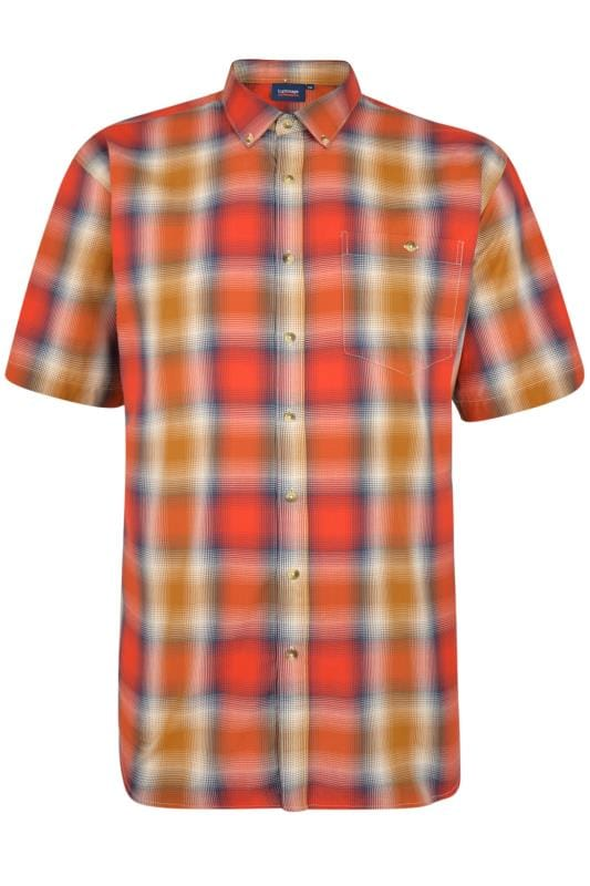 Casual Shirts Grande Taille ESPIONAGE Orange Check Shirt