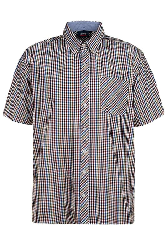 Casual Shirts Grande Taille ESPIONAGE Rust Multi Check Shirt