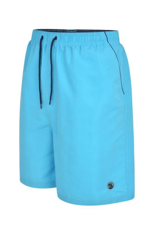Plus Size Swim Shorts ESPIONAGE Turquoise Tropical Swim Shorts