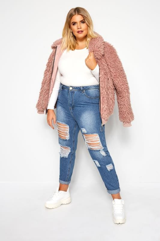 Boyfriend Jeans Blue Extreme Ripped Mom Jeans