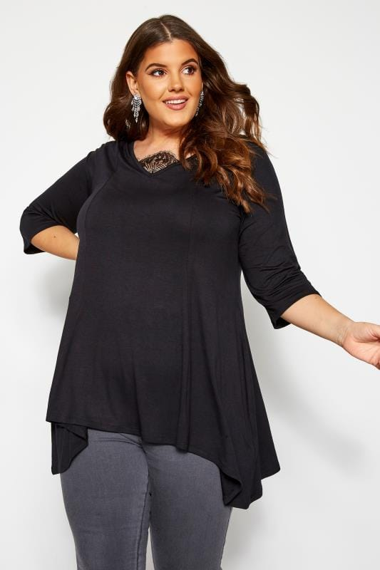 Plus Size Day Tops YOURS LONDON Black Eyelash Lace Hanky Hem Top