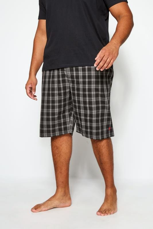 Plus Size Casual / Every Day FARAH Black & Grey Check Lounge Shorts