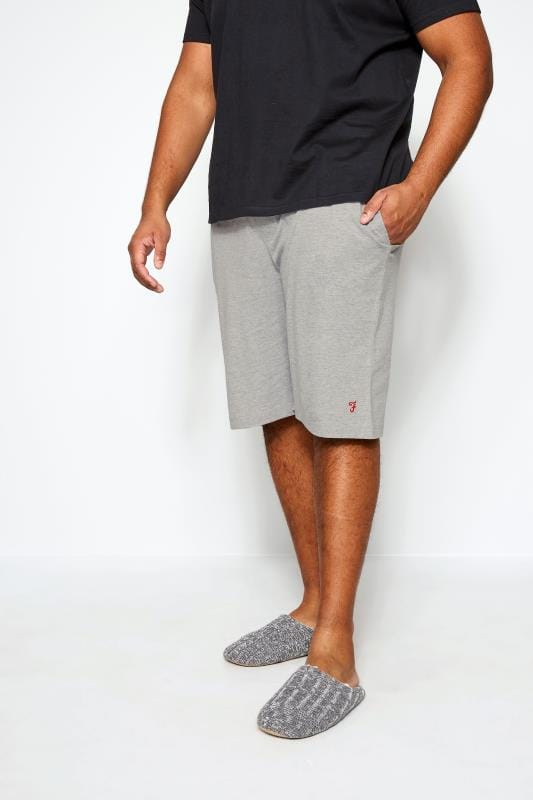 Plus Size Jogger Shorts FARAH Grey Lounge Shorts