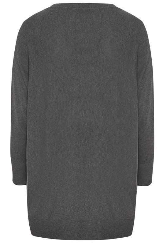 Charcoal Grey Eyelet Longline Knitted Jumper
