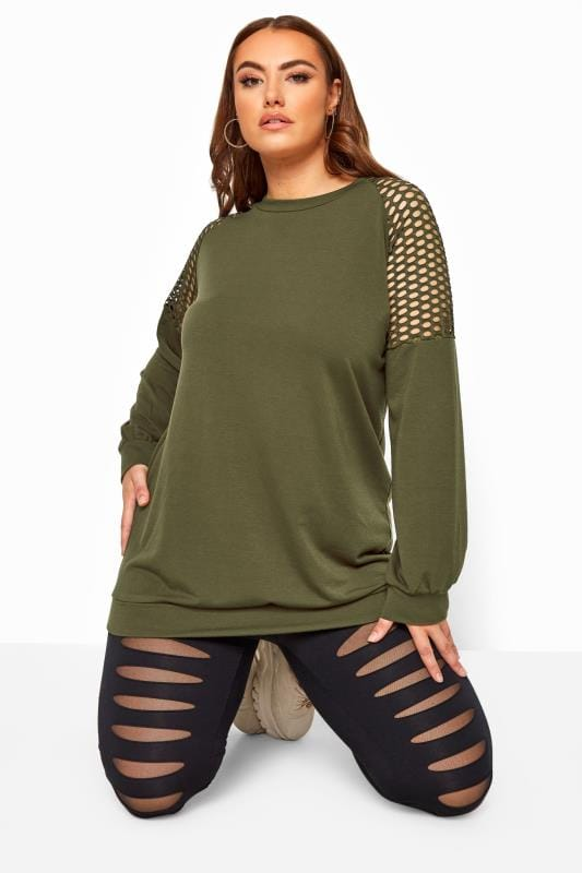 Plus Size Sweatshirts & Hoodies LIMITED COLLECTION Khaki Fishnet Insert Sweatshirt