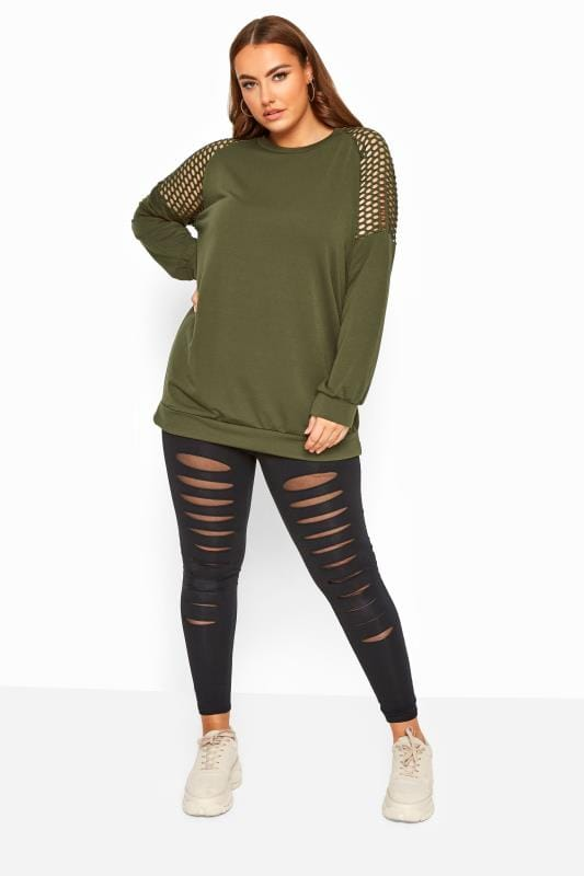 Plus Size Sweatshirts & Hoodies LIMITED COLLECTION Khaki Fishnet Insert Sweatshirt