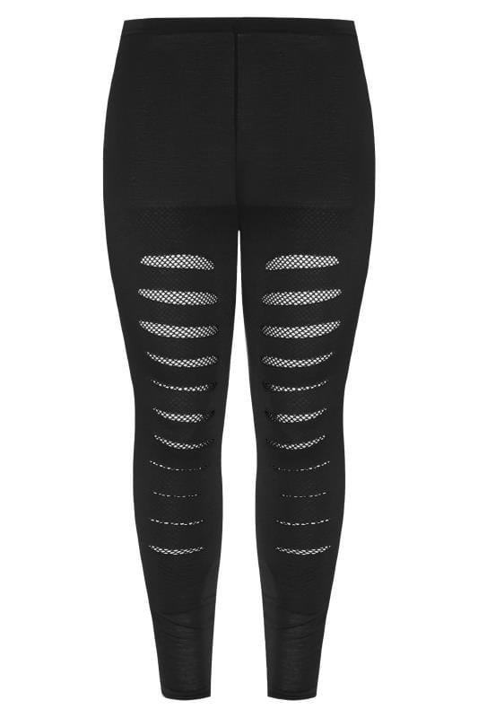 Black Ripped Fishnet Insert Jersey Leggings