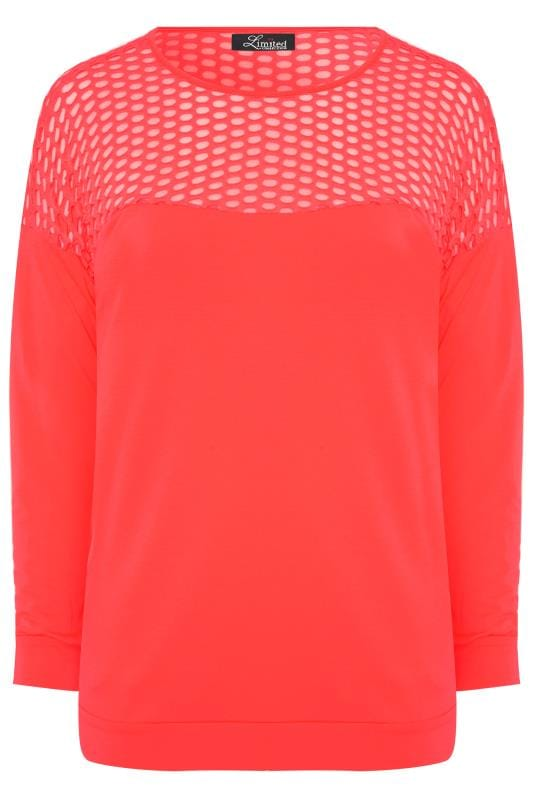 LIMITED COLLECTION Neon Pink Fishnet Panel Sweatshirt