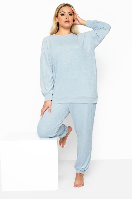 Plus Size Loungewear LIMITED COLLECTION Baby Blue Flannel Towelling Lounge Joggers