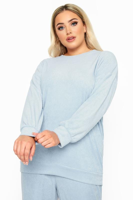 Plus Size Sweatshirts & Hoodies LIMITED COLLECTION Baby Blue Flannel Towelling Lounge Sweatshirt