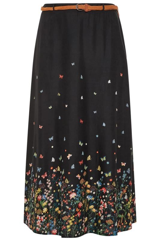 Black Floral Butterfly Maxi Skirt With Belt