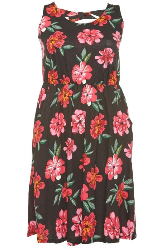 Black Floral Bow Back T-Shirt Dress