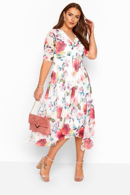 YOURS LONDON White Floral Hanky Hem Mesh Wrap Dress
