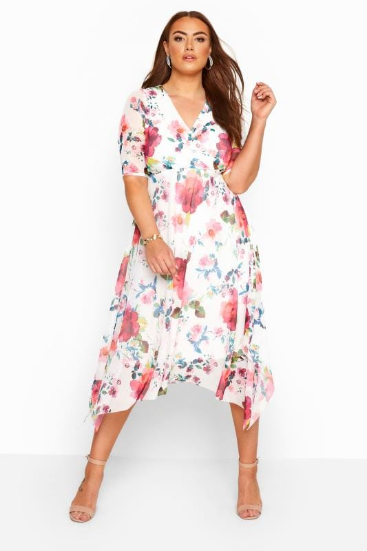Plus Size Floral Dresses YOURS LONDON White Floral Hanky Hem Mesh Wrap Dress