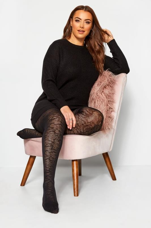 Plus Size Tights Black Floral Pattern Tights