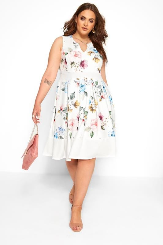 Plus Size Skater Dresses White Floral Skater Dress