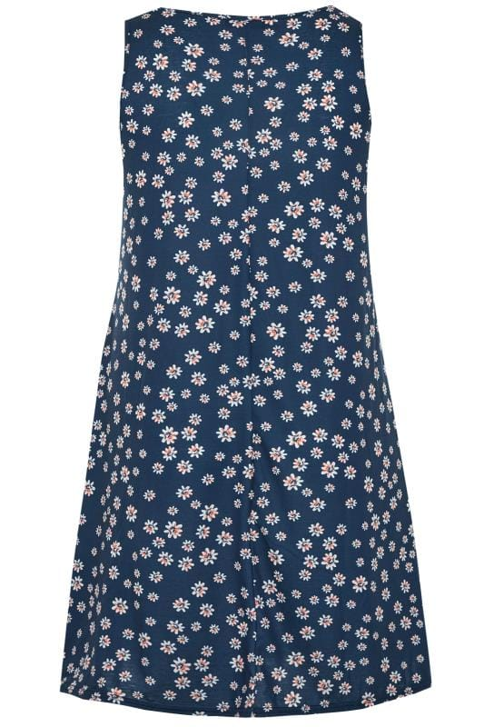 Navy Floral Sleeveless Drape Pocket Dress