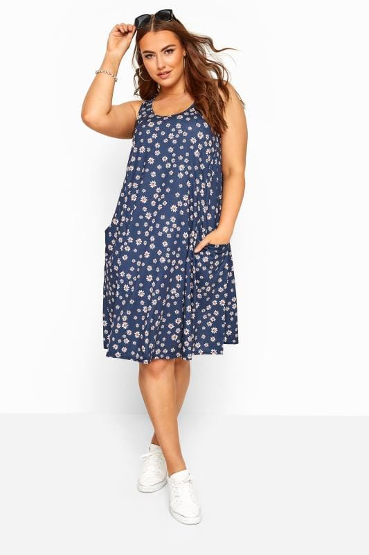 Plus Size Swing Dresses Navy Floral Sleeveless Drape Pocket Dress