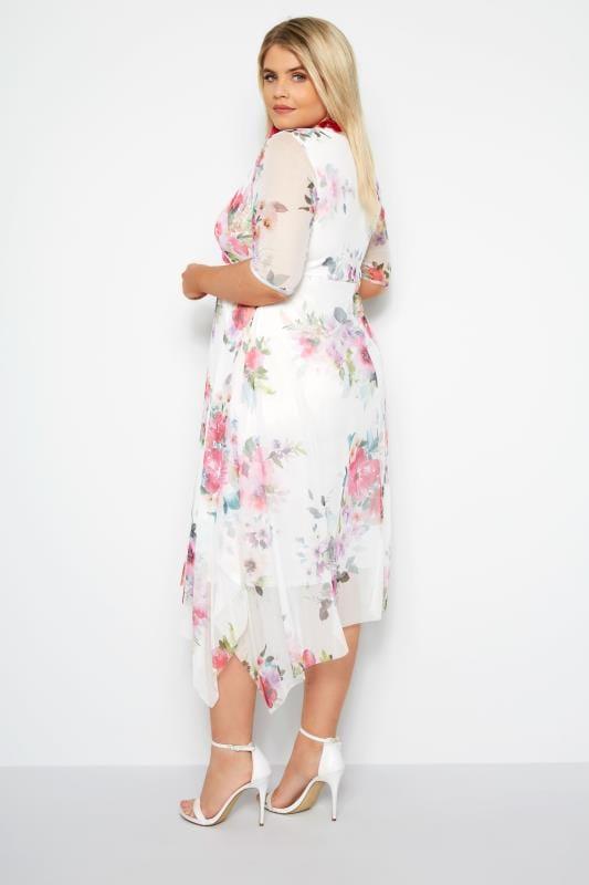 White Floral Mesh Midi Dress With Hanky Hem