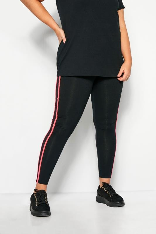 Plus Size Fashion Leggings LIMITED COLLECTION Black Neon Pink Tape Leggings