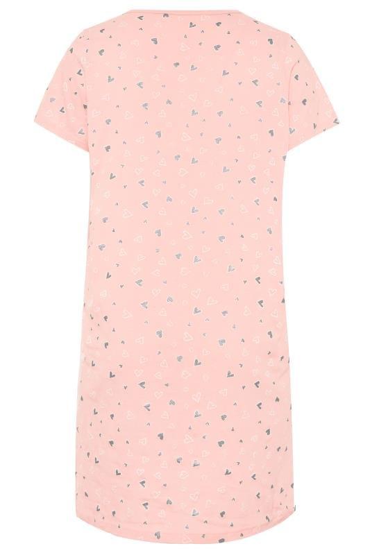 Pink Heart Print Nightdress