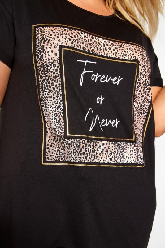 Black 'Forever Or Never' Leopard Print Slogan T-Shirt