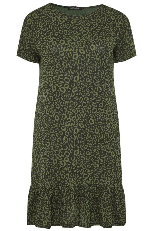 Plus Size Casual Dresses LIMITED COLLECTION Khaki Animal Print Frill Hem Dress