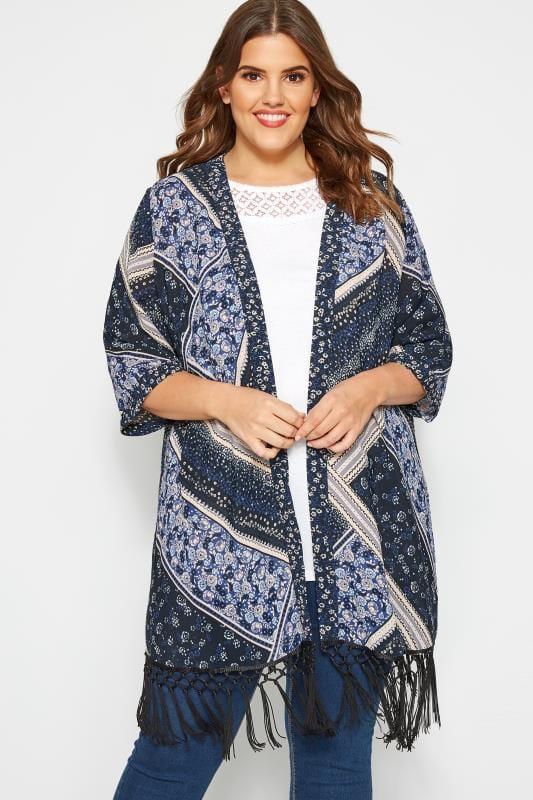 Plus Size Kimonos Navy Mixed Print Fringed Kimono