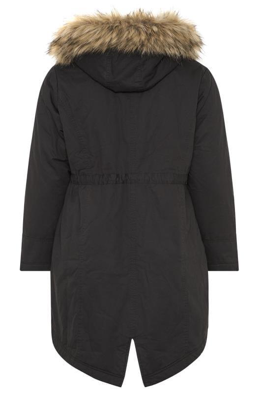 Black Fleece Lined Faux Fur Trim Parka Jacket