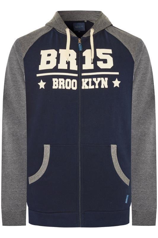 Hoodies Tallas Grandes BadRhino Navy & Grey Brooklyn Zip Through Hoodie