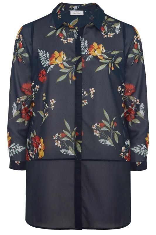 YOURS LONDON Navy Floral Chiffon Shirt