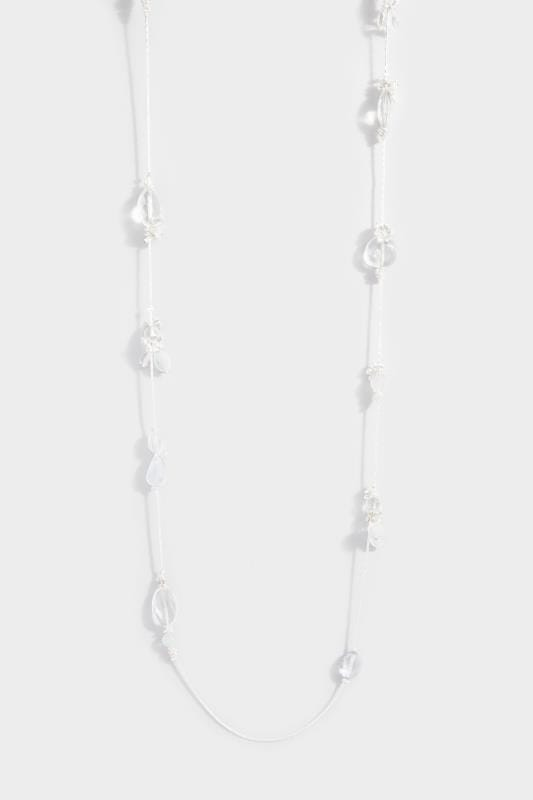 Silver Floral Mixed Stone Long Necklace