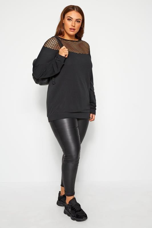 LIMITED COLLECTION Black Fishnet Panel Sweatshirt